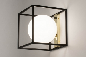 Lampara de techo 73645 Moderno Retro Contemporaneo Clasico Art deco Vidrio Blanco vidrio opal Metal Negro Mate Oro Cuadrado