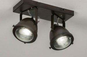 spot 73652 look industriel rural rustique lampes costauds retro acier oldmetal noir brun rond rectangulaire