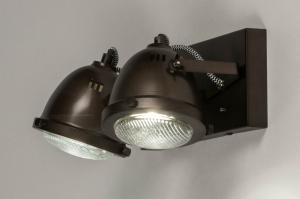 plafondlamp 73652 industrie look landelijk rustiek stoer raw retro metaal oldmetal (gunmetal) zwart bruin rond rechthoekig