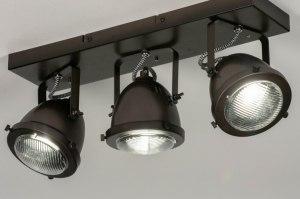 plafondlamp 73653 industrie look landelijk rustiek stoer raw metaal oldmetal (gunmetal) zwart bruin rond rechthoekig
