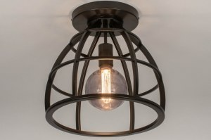 Lampara de techo 73655 Aspecto industrial Rural rustico Moderno Metal old metal (gunmetal) Negro Marron Redonda