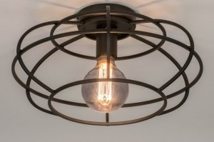 ceiling lamp 73657 industrial look modern metal black matt round