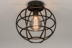 plafondlamp 73658 industrie look modern metaal zwart mat rond