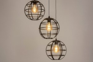 pendant light 73660 industrial look rustic modern metal black brown oldmetal round