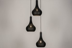 pendant light 73662 modern contemporary classical metal black matt round