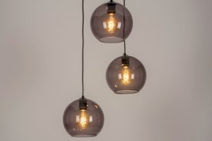 pendant light 73663 modern retro glass metal black matt grey round