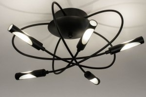 plafondlamp 73665 modern eigentijds klassiek metaal zwart mat rond