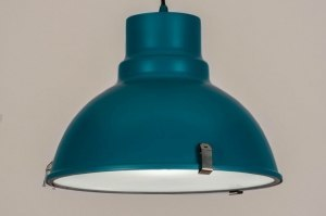 pendant light 73672 industrial look modern metal blue petrol colored round