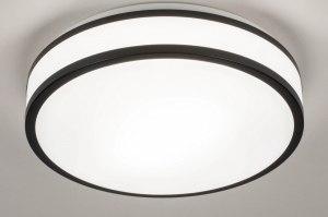 plafondlamp 73674 modern kunststof zwart mat wit rond