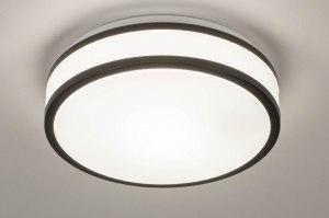 plafondlamp 73675 modern kunststof zwart mat wit rond