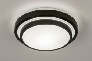 plafondlamp 73676 modern kunststof metaal zwart mat wit rond