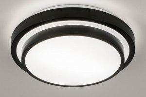 plafondlamp 73677 modern aluminium kunststof zwart mat wit rond