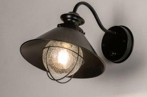 wandlamp 73678 industrie look landelijk rustiek modern glas helder glas metaal zwart mat rond