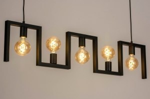 hanglamp 73697 industrie look modern metaal zwart mat langwerpig