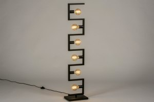 floor lamp 73699 industrial look modern metal black matt oblong
