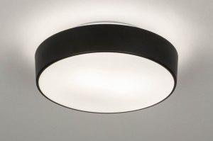 plafondlamp 73710 modern glas wit opaalglas metaal zwart mat wit mat rond