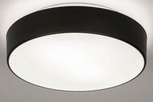 plafondlamp 73711 modern glas wit opaalglas metaal zwart mat wit mat rond