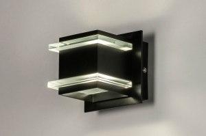 wandlamp 73722 design modern aluminium metaal zwart mat vierkant