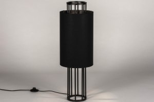 tafellamp 73726 sale industrie look modern stof metaal zwart mat rond