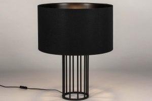 tafellamp 73728 sale industrie look modern stof metaal zwart mat rond