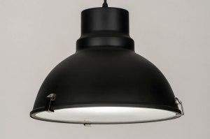 hanglamp 73734 industrie look landelijk rustiek modern metaal zwart mat rond