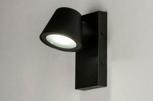 wandlamp 73737 industrie look modern aluminium metaal zwart mat rond rechthoekig