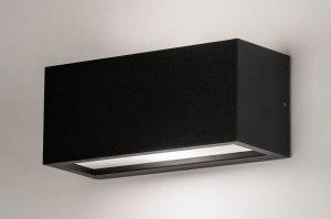 wandlamp 73740 design modern aluminium kunststof polycarbonaat slagvast zwart mat rechthoekig