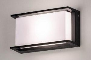 wandlamp 73741 modern aluminium kunststof polycarbonaat slagvast zwart mat rechthoekig