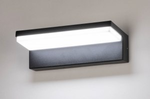 wandlamp 73745 modern aluminium kunststof polycarbonaat zwart mat rechthoekig