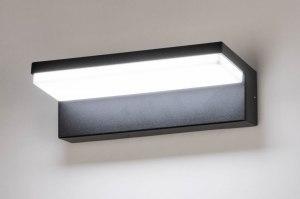 wandlamp 73745 modern aluminium kunststof polycarbonaat slagvast zwart mat rechthoekig