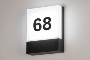 wandlamp 73746 modern aluminium kunststof polycarbonaat zwart mat rechthoekig