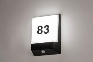 wandlamp 73747 modern aluminium kunststof polycarbonaat zwart mat rechthoekig