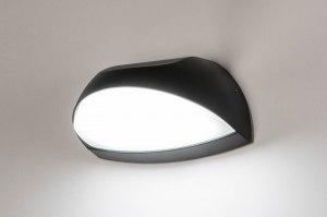 wandlamp 73748 modern aluminium kunststof polycarbonaat slagvast zwart mat ovaal