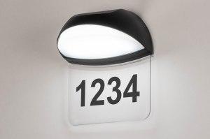 wandlamp 73749 modern aluminium kunststof polycarbonaat zwart mat ovaal