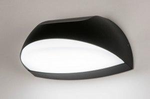 wandlamp 73750 modern aluminium kunststof polycarbonaat slagvast zwart mat ovaal