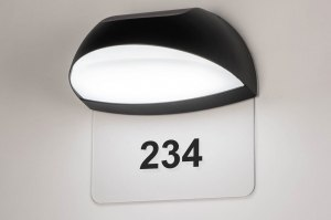 wandlamp 73751 modern aluminium kunststof polycarbonaat slagvast zwart mat ovaal