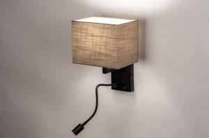 wandlamp 73756 landelijk rustiek modern stof metaal zwart mat taupe rechthoekig