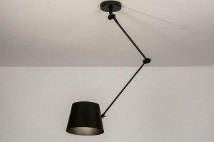 hanglamp 73759 industrie look landelijk rustiek modern metaal zwart mat rond