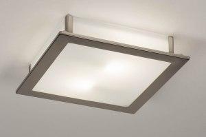 plafondlamp 73761 modern glas wit opaalglas staal rvs wit staalgrijs vierkant