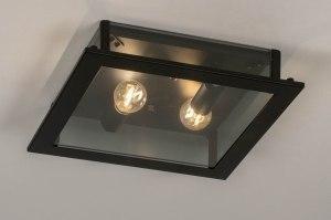 plafondlamp 73762 industrie look modern glas helder glas metaal zwart mat vierkant
