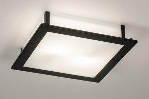 plafondlamp 73763 industrie look modern glas wit opaalglas metaal zwart mat vierkant