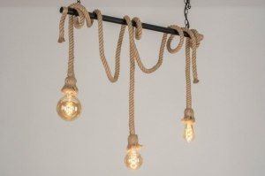suspension 73783 look industriel rural rustique moderne lampes costauds acier noir mat brun naturel oblongue