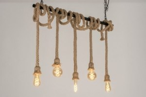 suspension 73784 look industriel rural rustique moderne lampes costauds acier noir mat brun naturel oblongue