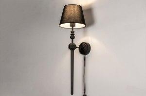 wandlamp 73795 landelijk rustiek modern eigentijds klassiek stof metaal zwart mat rond