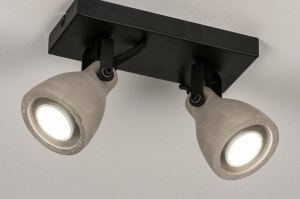 spot 73798 look industriel rural rustique moderne lampes costauds beton acier noir mat gris beton rond carre