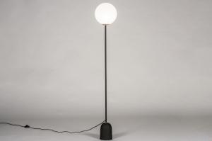 vloerlamp 73802 modern retro eigentijds klassiek art deco glas wit opaalglas metaal zwart mat rond