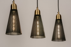 suspension 73803 moderne retro classique contemporain cuivre jaune poli acier noir mat cuivre jaune mat oblongue