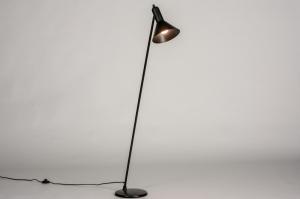 vloerlamp 73805 industrie look modern retro metaal zwart mat rond