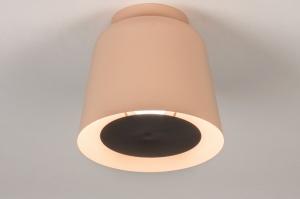 plafondlamp 73808 modern retro metaal zwart mat roze rond