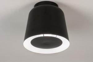 plafondlamp 73809 modern retro metaal zwart mat rond